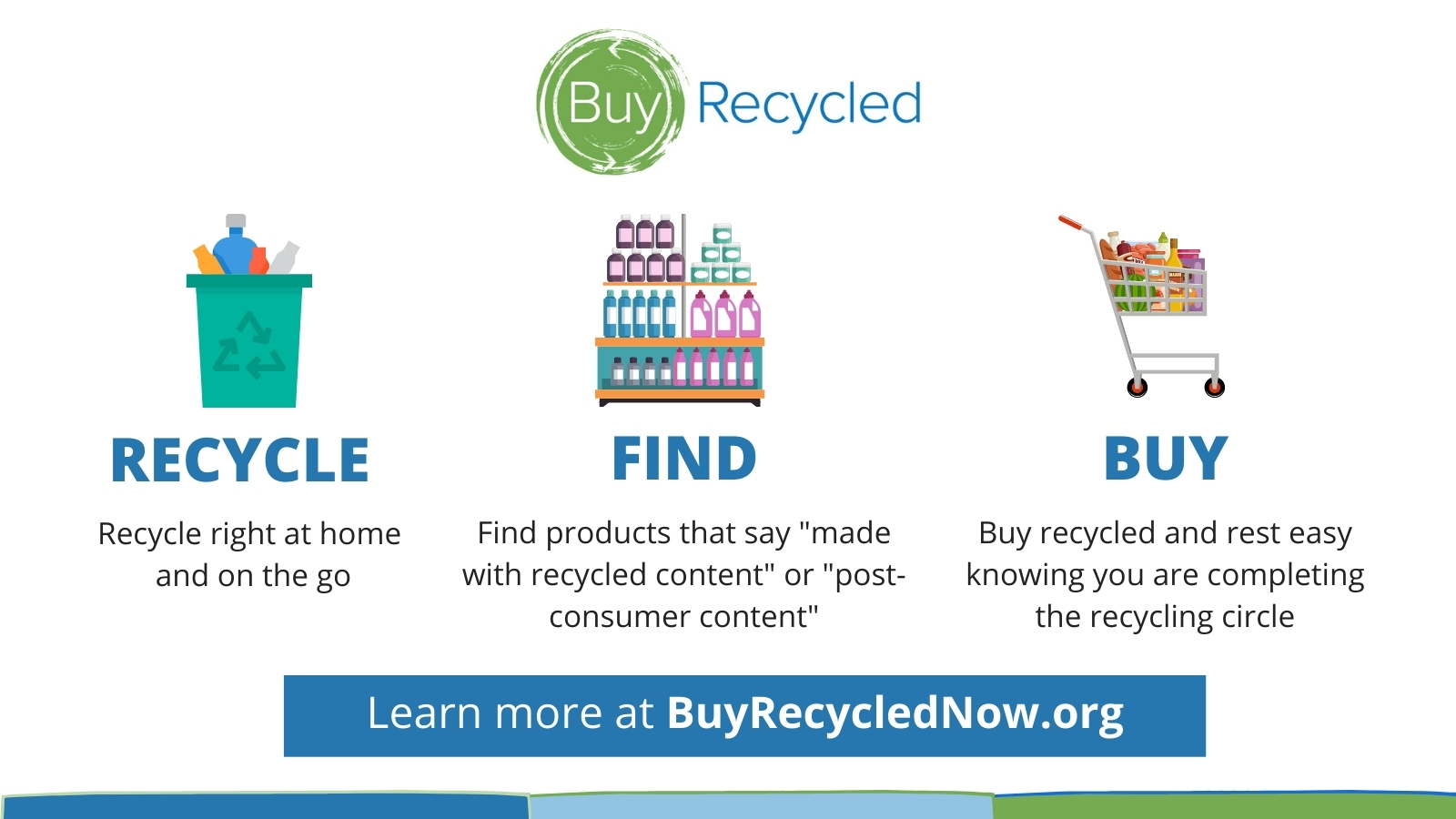 Step 1: Recycle Right at home and on the go. Step 2: Find recycled products when you're shopping. Step 3: Buy recycled to complete the recycling cycle