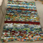 rainbow rug made from recycled plastic bags